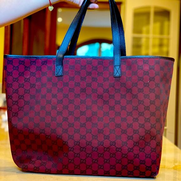 GUCCI Monogram Red Canvas Large Bag 100% Authentic